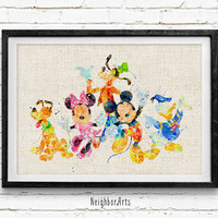 Mickey and Friends Watercolor Art Print, Disney Baby Boy / Girl Nursery Room Poster, Kids Decor Home Decor, Not Framed, Buy 2 Get 1 Free