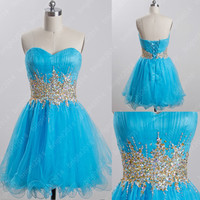 2014 short blue homecoming dresses with beads and sequins,cute sweetheart tulle dresses for party,chic cheap prom/graduation dress, TB74