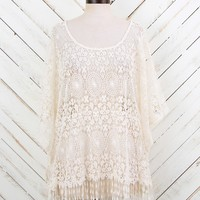 Altar'd State Crochet Overlay With Fringe Trim Top   Altar'd State