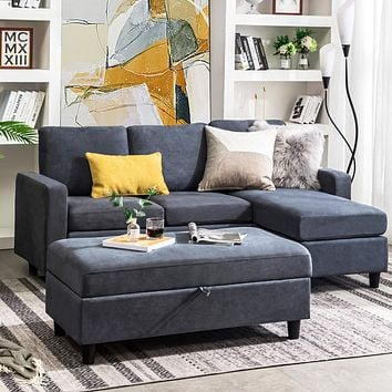 HONBAY Reversible Sectional Couch with Chaise Modern Linen Fabric L Shape Sofa for Apartment Sectional Set with Ottoman in Bluish Grey