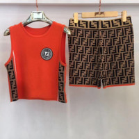 FENDI Newest Hot Sale Woman Fashion Top Shorts Set Two Piece