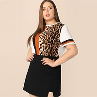 Plus Size Cut Sew Striped Leopard Top Women Colorblock Casual Round Neck Tee Highstreet Weekend T-shirt