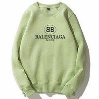 Balenciaga Tide brand classic double B letter print loose wild round neck long sleeve sweater Green