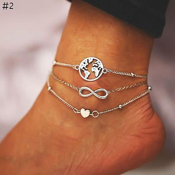 Beads Anklets For Women Fashion 8 Words Multi Layer Anklet Cotton Handmade Chain Foot Jewelry