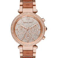 Michael Kors Women's Chronograph Parker Rose Gold-Tone Stainless Steel & Rose Glitter Acetate Bracelet Watch 39mm MK6285