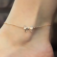 Cute Golden Bow Anklet With Rhinestone Crystal for Women