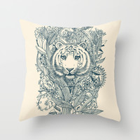 Tiger Tangle Throw Pillow by Micklyn