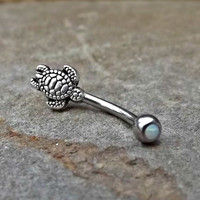 Turtle Fire Opal White Belly Button Navel Ring Body Jewelry Fits in Navel 14ga Cute Belly Ring