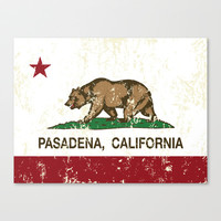 Pasadena California Republic Flag Distressed Stretched Canvas by NorCal