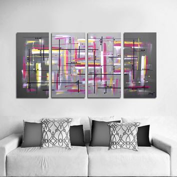 "Original abstract painting. 51x24"" 4 piece canvas art. Large painting. Gray painting with yellow and pink. Big painting. Free shipping!"
