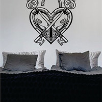 Keys and Heart Lock Design Decal Sticker Wall Vinyl Decor Art