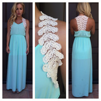 Greek Goddess Crochet Maxi Dress- MINT
