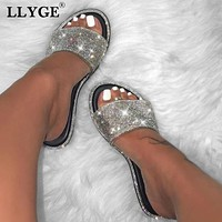 New Summer Women Crystal Slippers Glitter Flat Soft Bling Female Candy Color Flip Flops Indoor Ladies Slides Hot Beach Shoes