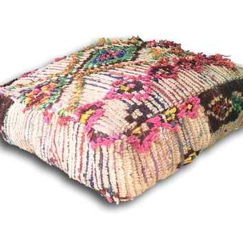 Authentic Abstract Vintage Boho Chic Moroccan Azilal Wool Rug Floor Cushion / Pouf Cover