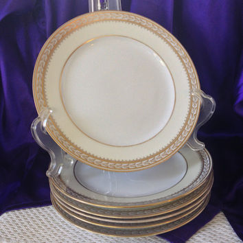 Noritake Chanfaire Six Luncheon Plates, 1918 Antique China, Creamy Ivory, Gold Embellished