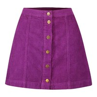 Cord Purple Button Through Skirt | Boohoo
