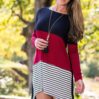 Casual Color Block And Striped Pattern Long Sleeve Mini Dress