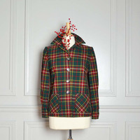 Jacket Lightweight Wool Plaid Christmas Green Red by thriftage