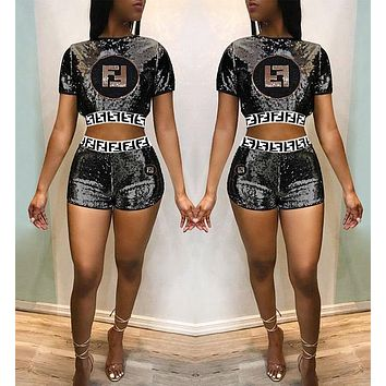 FENDI Fashionable Women Casual Sequin Embroidery Short Sleeve Top Shorts Set Two-Piece