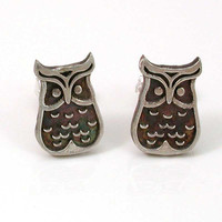 Owl Post Earrings Sir Whooty Who Sterling by SwankMetalsmithing