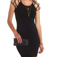 Cut-Out Caged Sleeve Bodycon Dress by Charlotte Russe - Black