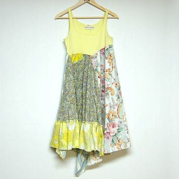 Small Yellow Hippie Boho Dress, Funky Artsy Summer Dress, Sleeveless, Eco Upcycled Festival Clothing, Anthropologie Free People Inspired