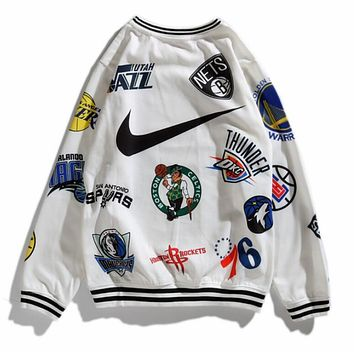 Nike X Supreme Trending Women Men Stylish Print Long Sleeve Lovers Top Sweater White I12731-1