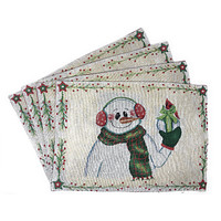 """DaDa Bedding Magical Snowman Placemats, Set of 4 Holiday Tapestry 13"""" x 19"""" (9733)"""