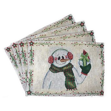 """DaDa Bedding Set of 4 PCs Magical Snowman Holiday Tapestry Placemats 13"""" x 19"""" (9733)"""