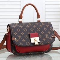 LV Louis Vuitton Women Leather Tote Crossbody Satchel Shoulder Bag Handbag