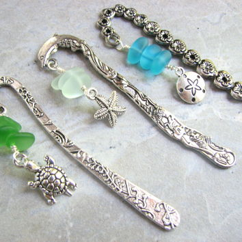 Miniature Seaglass Bookmarks, Gift Set of 3 Ocean Charm Book Markers