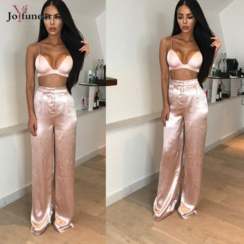 2017 New Women Two Piece Outfits deep v CropTop and full length loose  Pants Set Women Casual Satin Suits Summer Women Set Femme