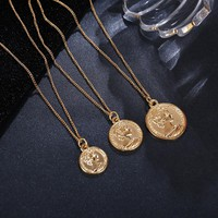 Vintage Carved Coin Necklace For Women Fashion Gold Color Medallion Necklace Multiple Layers Pendant Long Necklaces Boho Jewelry