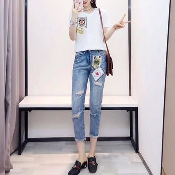 """Dolce & Gabbana"" Women Casual Fashion Poker Cards Queen Short Sleeve T-shirt Jeans Trousers Set Two-Piece"