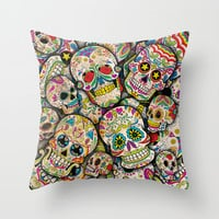 Sugar Skull Collage Throw Pillow by Spooky Dooky | Society6