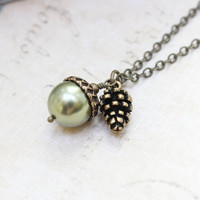 Green Pearl Acorn Necklace with Pinecone Charm Pendant Autumn Jewelry Woodland Necklace Mighty Oak Gift Under 25 Christmas Stocking Stuffer