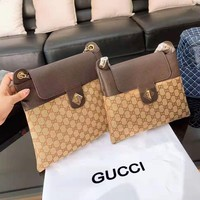 GUCCI popular casual women print patchwork color thin document makeup bag