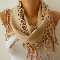 ON SALE - Beige Scarf Women Pashmina  Scarf  - Cotton Scarf - Cowl with Lace  Edge - Beige - fatwoman