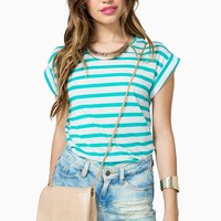 Justine Stripe Button Back Tee
