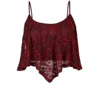 New Look Mobile | Burgundy Floral Lace Swing Crop Top