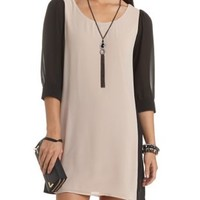 Color Block Chiffon Shift Dress by Charlotte Russe