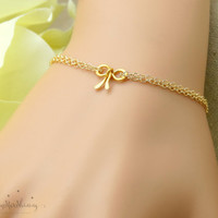 Gold Bow bracelet Tie the knot jewelry Gold Bow jewelry Knot bracelet Bridesmaid gift friendship bracelet bridesmaid bracelet wedding