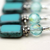 Turquoise Picasso Czech Bead Dangle Charm Drop Set - 4 Piece Set