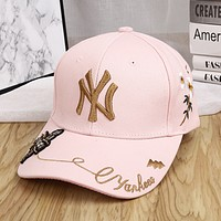 MLB NY Fashion New Embroidery Letter Floral Bee Sun Protection Cap Hat Pink