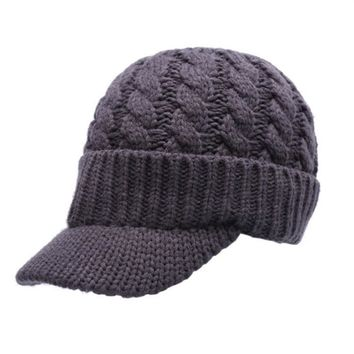 Unisex Warm Winter Hat With Visor Knitted Hats