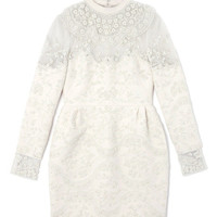 Embroidered Short Dress With French Cuffs by Valentino - Moda Operandi