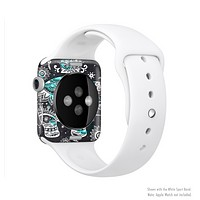 The Aztec Elephant Blue Accented Modern Illustration Full Body Skin Set for the Apple Watch