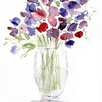 Sweet pea Bouquet, original watercolor painting, still life painting  in purple, lavender and pink colors. romantic floral, Cotage  chic