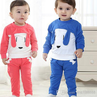 New Arrival 2014 Baby Toddler Clothing High Quality Cotton long-sleeved Outdoor Sports Cartoon Suit Outfits For Spring/Autumn 4set/lot