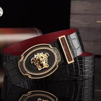 Versace Men Women Fashion Smooth Buckle Belt Leather Belt